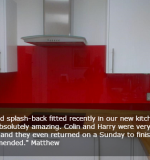 Red Glass Splashback With Testimonial