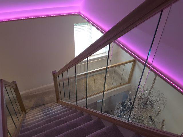 Neon Lit Stair Balustrades