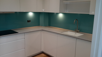 Blue glass kitchen splashback November 2